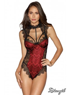 DG10537 - Lace Overlay Teddy (BLACK/RED)