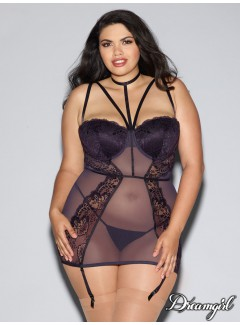 DG11013X - plus size lace & fishnet garter slip