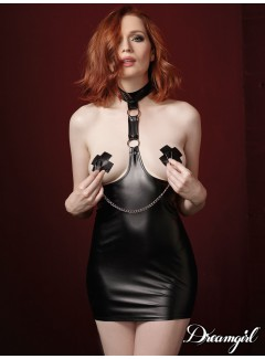 DG11054 - Leather chemise & nipple clamps