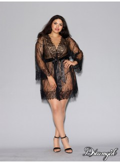 DG11078 - Lace Robe (BLACK)