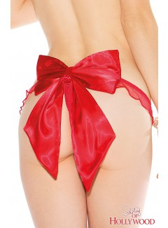 SH20 - Satin Bow Thong (RED)