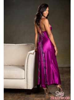 SH20300 - Long Satin Gown (GRAPE)