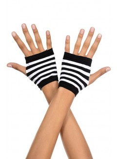 ML439 - Black And White Striped Gloves