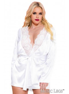 ML60078Q - Satin Robe (WHITE)