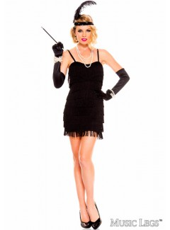 ML70590 - 1920's STUNNING BLACK FLAPPER (BLACK)