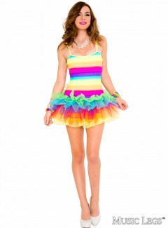 ML70614 - RAINBOW STRIPED TUTU DRESS