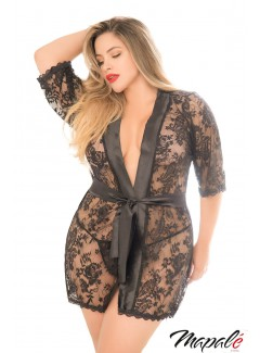 MA7115X - Lace Robe (BLACK)
