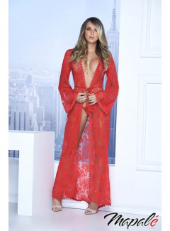 EP7116 - Long Lace Robe (RED)