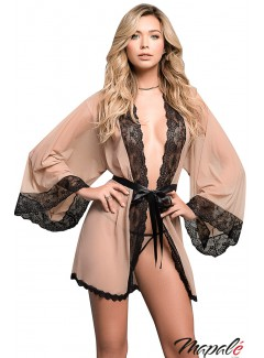 MA7199 - Robe with G-String (NUDE/BLACK)