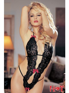 SH96168 - Lace Teddy (BLACK/RED)