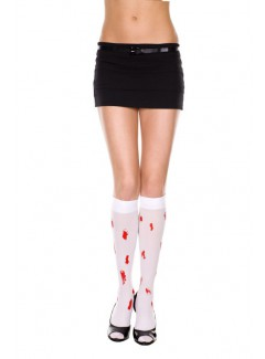 ML5551 - Knee Hi & Over The Knee (White/Red)