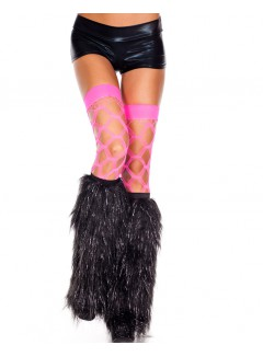 ML5536 - FURRY LUREX LEG WARMERS (BLACK)