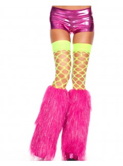ML5537 - FURRY LUREX LEG WARMERS  (HOT PINK)