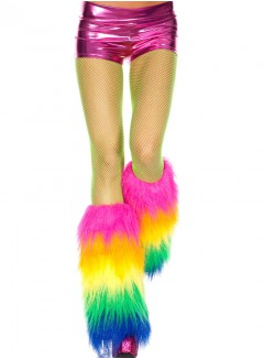 ML5538 - FURRY RAINBOW LEG WARMERS  (Rainbow)