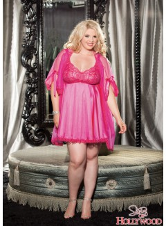 SHX3595 - PEIGNOIR SET (HOT PINK)