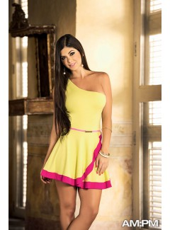 AM4860 - Dress With Belt (YELLOW)